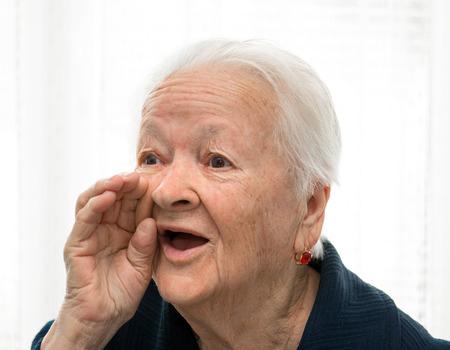 Portrait of shouting old woman  Banco de Imagens