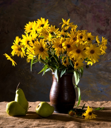 Still life with bunch of bright yellow flowers  rudbeckia  in brown vase and pears Stock Photo - 22780775