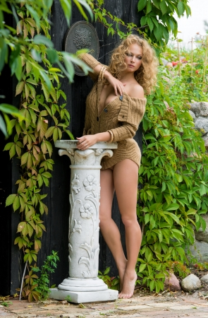 Beautiful nude woman posing near the old country house photo