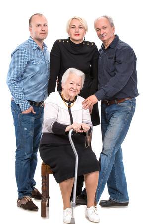 Multi-generation family on a white background 免版税图像