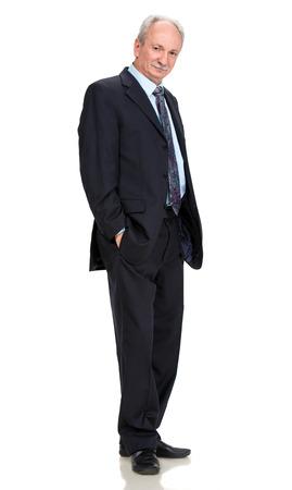 Senior full length businessman posing  on a white