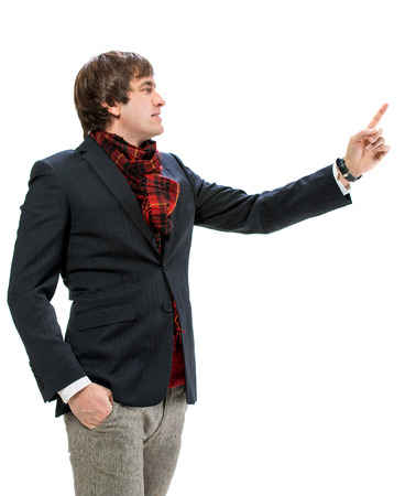 criticising: Businessman pointing his finger against white background