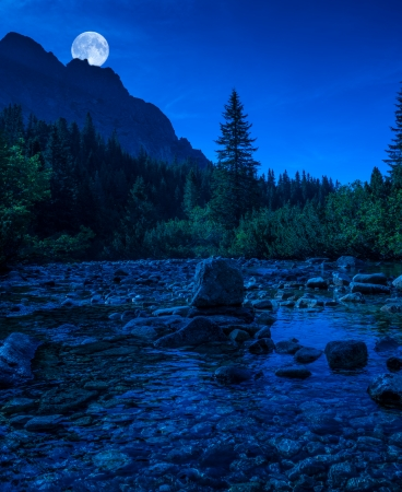 Mountain river in High Tatras, Slovakia at night