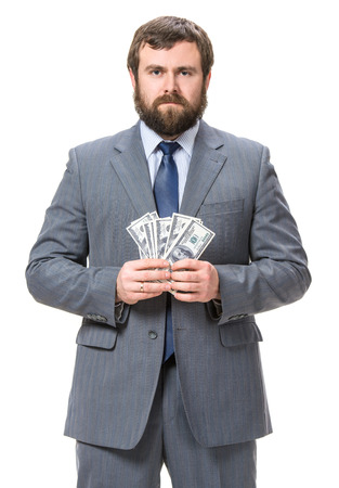 cash money: Hombre de negocios con dinero en efectivo en d�lares Foto de archivo