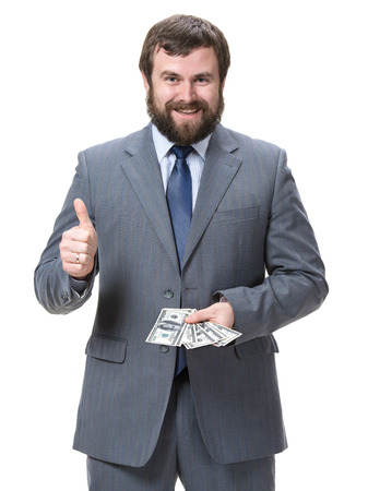 cash money: Businessman with dollar cash money