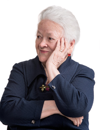 Portrait of smiling old woman on white background