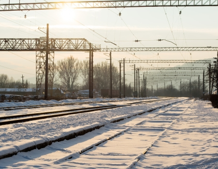 Railway junction station in winter