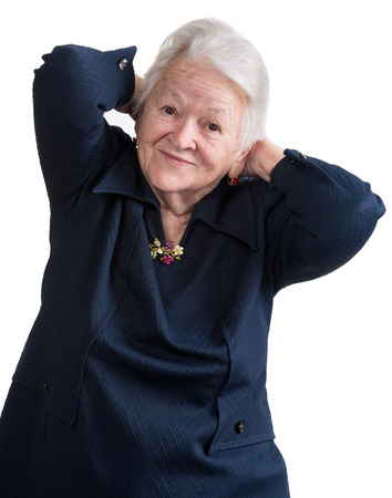 Old woman on a white background 免版税图像
