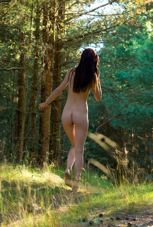 adult nude: Young nude woman posing on nature background
