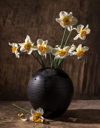 Beautiful daffodils in black vase on a wooden background 免版税图像