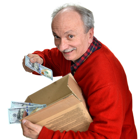 Lucky old man holding box with dollar bills on a white background photo