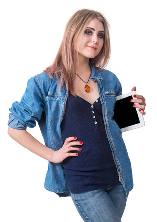 Smiling girl with tablet pc computer on a white background photo