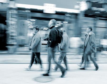 People going along the street  Intentional motion blur