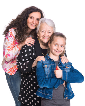 three generations of women: Three generations of women on a white background