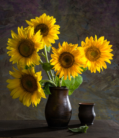 Still Life Of Beautiful Sunflowers In A Vase Stock Photo