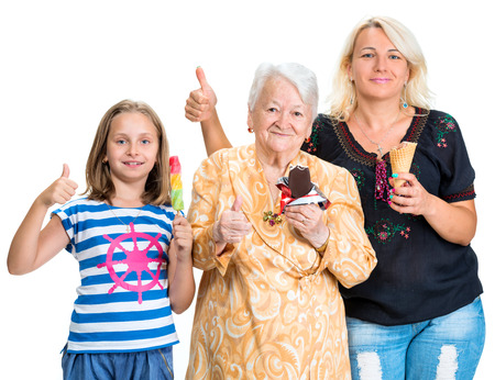 three generations of women: Three generations of happy women with ice cream on a white background