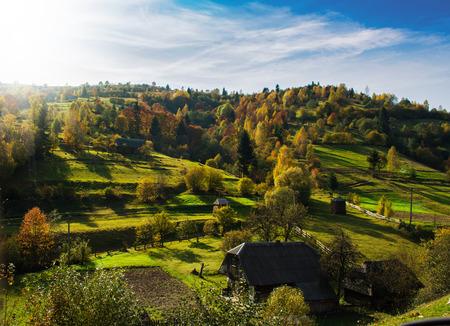 Morning autumn landscape in Carpathian mountains in Ukraine photo