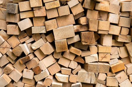 Pile of fresh cut wood logs ready for winter photo