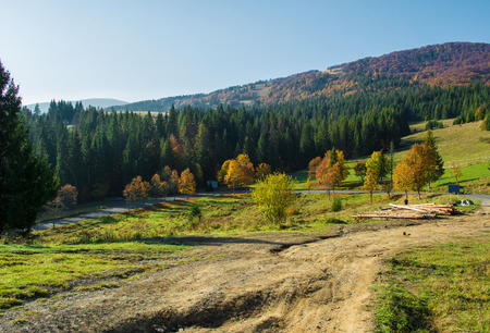 Autumn landscape in Carpathian mountains in Ukraine photo