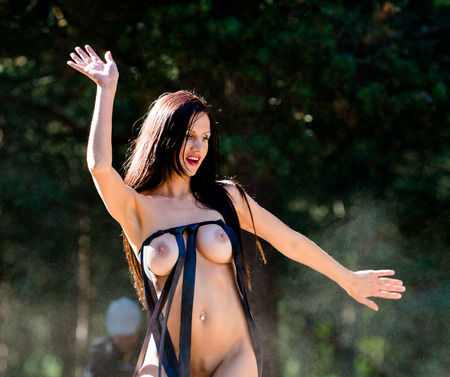 adult nude: Happy young nude woman on natural background