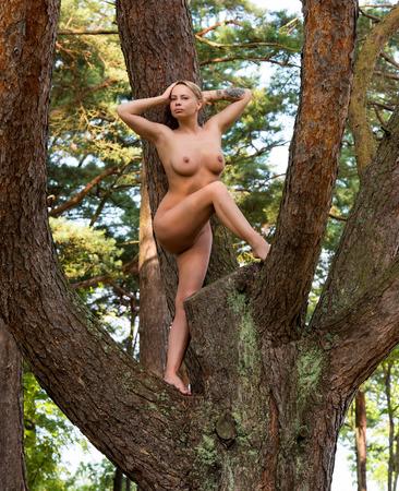 nude nature: Beautiful young nude woman posing outdoor Stock Photo
