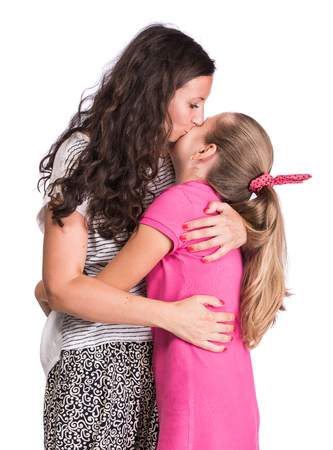 kiss love: Portrait of mother with daughter on a white background