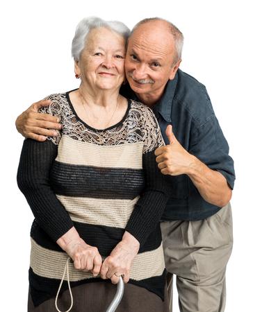adoring: Senior man with old woman on white background. Family time Stock Photo