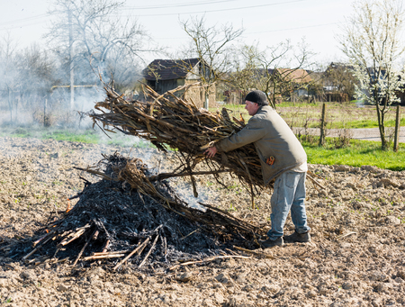 burning time: Work in the garden. Farmer raking burning dried branches. Spring time