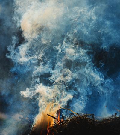 smolder: Orange fire flames. Big fire in the village Stock Photo