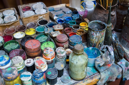 paints: Artistic paints and paintbrushes Stock Photo