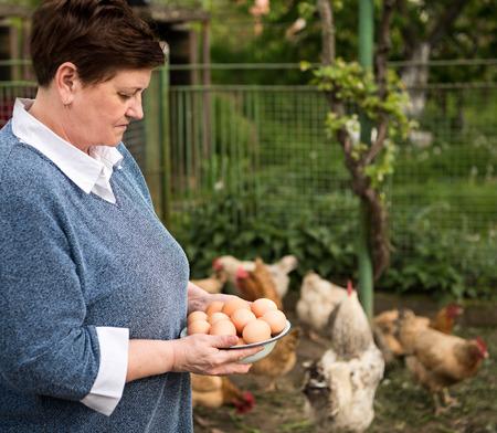 Woman farmer holding fresh organic eggs photo