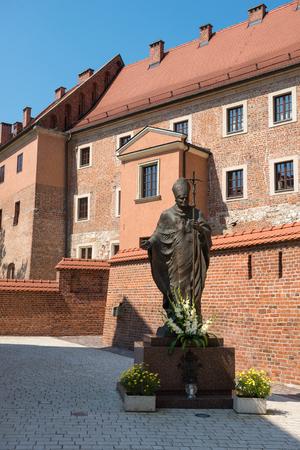 pope: KRAKOW, POLAND - July 27, 2013 : Statue of Pope John Paul in Krakow, Poland