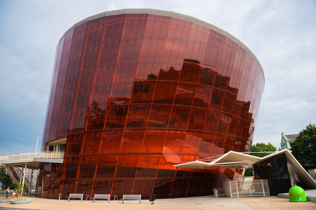 deviate: LIEPAJA, LATVIA - LULY 24, 2016: Music hall in modern architecture style. Glass and metal construction. LIELAIS DZINTARS in Liepaja, Latvia Editorial