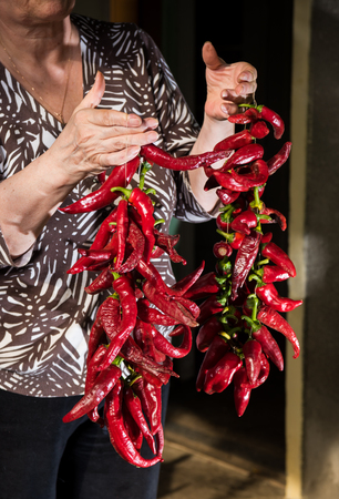 Senior woman holding red pepper in the garden photo