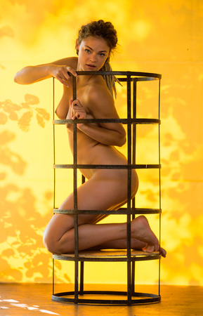nude nature: Young beautiful naked woman posing in iron grid  near yellow wall