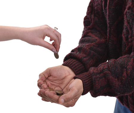Senior man begging for alms. Woman gives money to poor man. Posing in studio on a white background Stock Photo
