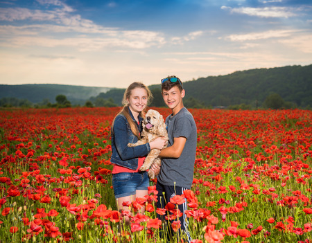 Teen boy and girl  on the poppy field posing with a dog at sunset. Summer sunny day photo