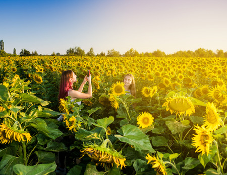 Two girls taking pictures in the sunflower field at sunset photo