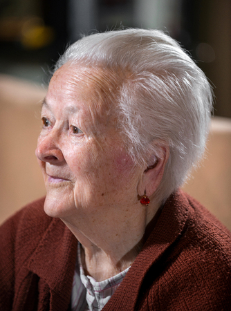 Portrait of smiling gray-haired old woman posing at home