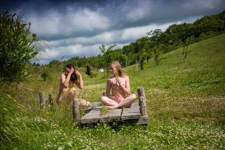Twee jonge naakte vrouwen poseren op de brug in de buurt van een kleine vijver. Sexy blonde en brunette genieten van de zomertijd in openlucht