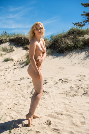 Young nude woman posing on a sandy beach. Sexy blonde enjoying hot summer day outdoors Standard-Bild - 104628335