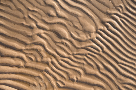 Sand background texture under water. Transparent water ripple, sand waves and sunlight glare. Sea bottom background