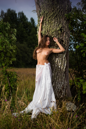 Young seminude woman wrapped in white linen posing near the tree. Naked woman enjoying nature and summer time. Relaxing on summer evening. Sexy naked brunette Foto de archivo