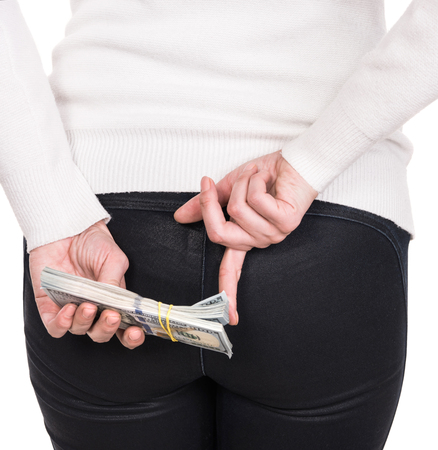 Money, finances, investment and saving concept. Woman with pack of dollar cash money over white background Banco de Imagens