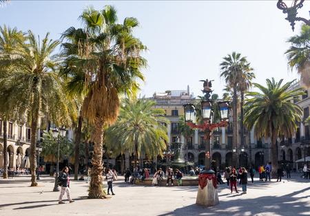 BARCELONA, SPAIN - FEBRUARY 22, 2019: Classical Fountain of the Three Graces at Placa Reial in Barcelona, Spain.Architect Antoni Rovira i Trias Editorial
