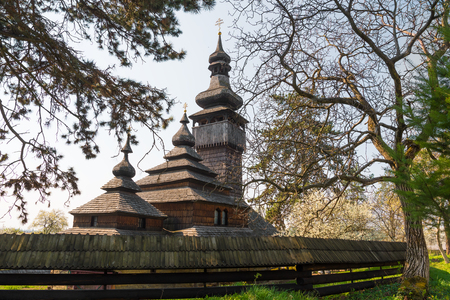 Old wooden church in Uzhgorod, Ukraine. Greek-Catholic Church of the Holy Archangel Michael built in 1777 without any iron nail Stock Photo