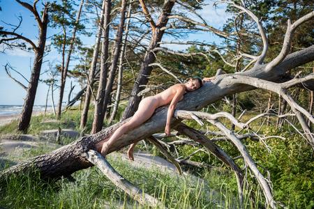 Mooie jonge vrouw die zich voordeed op een boom. Sexy brunette geniet van een hete zomerdag