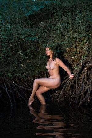 Romantic image of beautiful young nude woman with natural wreath enjoying summer time in the river Archivio Fotografico - 133376964