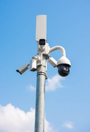 Multi-angle CCTV system on sky background