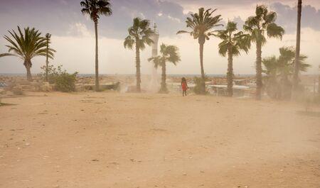 Strong winds blow a massive sandstorm in Turkey Фото со стока - 130806351